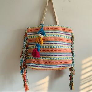 Bohemian Large handwoven Canvas Tote tassels